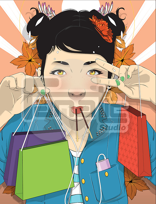 Illustration of beautiful young woman with shopping bags