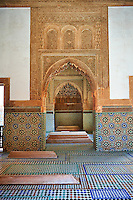 The arabesque zelige tiles and architecture of the Saadian Tombs the 16th century mausoleum of the Saadian rulers, Marrakech, Morroco