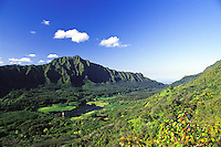 Nuuanu valley, on the island of Oahu, as seen from a hiking trail