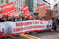 Milano, sciopero generale proclamato dalla CGIL per protestare contro il governo Monti e la riforma del lavoro. Articolo 18 --- Milan, general strike proclaimed by CGIL trade union, as a protest against the government and the labor reform