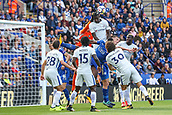 9th September 2017, King Power Stadium, Leicester, England; EPL Premier League Football, Leicester City versus Chelsea; Thibaut Courtois of Chelsea jumps to punch the ball but his own player already gets his head on it