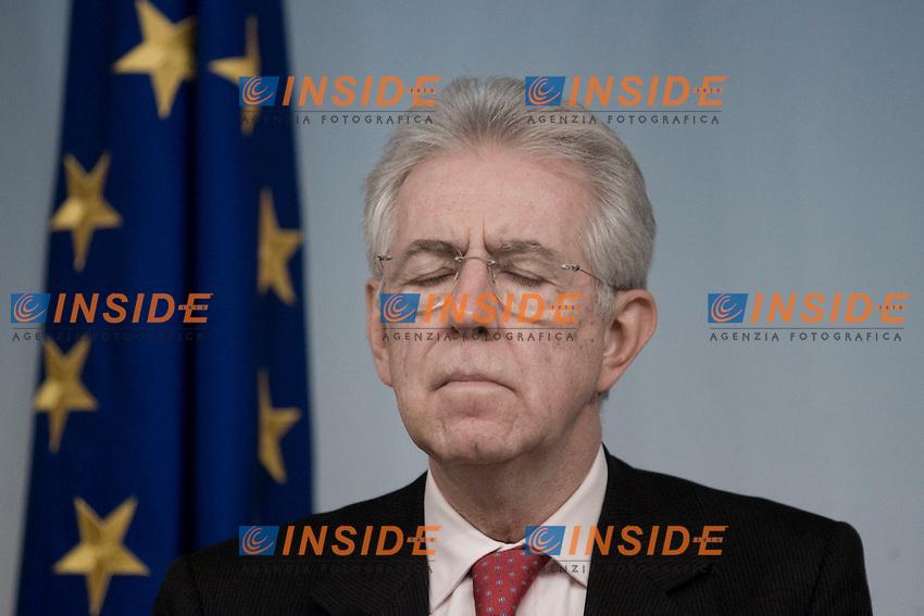 Il Presidente del Consiglio Mario Monti.Roma 14/02/2012 Conferenza Stampa al termine del Consiglio dei Ministri..Foto Insidefoto Serena Cremaschi