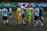 The players exchanging handshakes at the final whistle after Cambrian and Clydach Vale (in blue) took on Cwmbran Celtic at King George's New Field in a Welsh League Division One match, the top division of the Welsh Football League and the second level of the Welsh football league system. The club, formed in 1965 reached the final of the 2018-19 League Cup final and can count on ex-England manager Terry Venables as a former club chairman. Cambrian and Clydach Vale won this match 2-0, watch by a crowd of around 100 spectators.