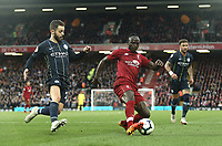 Liverpool's Sadio Mane under pressure from Manchester City's Bernardo Silva<br /> <br /> Photographer Rich Linley/CameraSport<br /> <br /> The Premier League - Liverpool v Manchester City - Sunday 7th October 2018 - Anfield - Liverpool<br /> <br /> World Copyright &copy; 2018 CameraSport. All rights reserved. 43 Linden Ave. Countesthorpe. Leicester. England. LE8 5PG - Tel: +44 (0) 116 277 4147 - admin@camerasport.com - www.camerasport.com