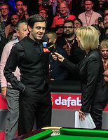 Ronnie O'Sullivan is interviewed after winning the Dafabet Masters FINAL between Barry Hawkins and Ronnie O'Sullivan at Alexandra Palace, London, England on 17 January 2016. Photo by Liam Smith / PRiME Media Images