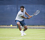 June 10th 2017,  Nottingham, England; ATP Aegon Nottingham Open Tennis Tournament day 1; Takanyi Garanganga of Zimbabwe in action against Luke Bainbridge of Great Britain