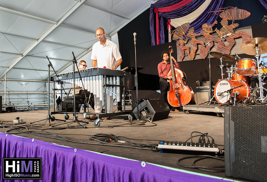 Jason Marsalis performs at the 2014 Jazz and Heritage Festival in New Orleans, LA.