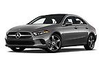 Stock pictures of low aggressive front three quarter view of 2019 Mercedes Benz A-Class-Sedan A-220 4 Door Sedan Low Aggressive