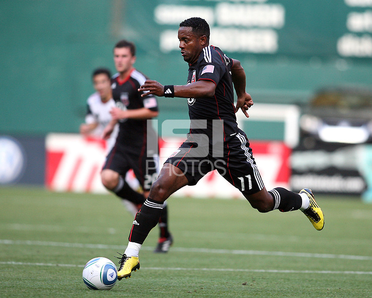 Luciano Emilio #11 of D.C. United races forward during an Open Cup match against Real Salt Lake at RFK Stadium, on June 2 2010 in Washington DC. DC United won 2-1.