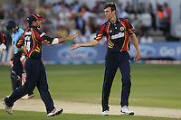 Reece Topley of Essex celebrates the wicket of Chris Nash - Essex Eagles vs Sussex Sharks - Friends Life T20 Cricket at the Ford County Ground, Chelmsford, Essex - 28/06/12 - MANDATORY CREDIT: Gavin Ellis/TGSPHOTO - Self billing applies where appropriate - 0845 094 6026 - contact@tgsphoto.co.uk - NO UNPAID USE.