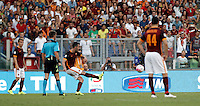 Calcio, Serie A: Roma vs Juventus. Roma, stadio Olimpico, 30 agosto 2015.<br /> Roma&rsquo;s Miralem Pjanic, second from right, scores on a free kick during the Italian Serie A football match between Roma and Juventus at Rome's Olympic stadium, 30 August 2015.<br /> UPDATE IMAGES PRESS/Isabella Bonotto