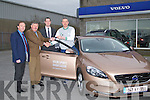 On Tuesday evening Billy Naughton Manageing Dir of Volvo,Tralee who presented Kieran Donehy the key's of 2014 Volo Sports Ambassador at Naughtons Car sales Tralee also in pic were Jimmy O'Sullivan (sales manager) and Barry Ryan (Sales Ex) Tralee