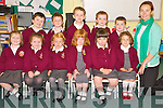Teacher Lisa Nolan Falvey pictured with Meave McCarthy, Sadhbh Casey, Cian Corkery, Niamh Anderson, Molly Gotts, Alexa Falvey, Cian O'Gorman, Nathan Key, Ryan O'Connor, Sean Keane and Mikey Griffin at Scoil Realt na Mara, Cromane on Tuesday.
