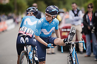 Carlos Betancur (COL/Movistar) stretching at the race start in Ans<br /> <br /> 83rd La Flèche Wallonne 2019 (1.UWT)<br /> One day race from Ans to Mur de Huy (BEL/195km)<br /> <br /> ©kramon
