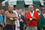 AUGUSTA, GA - APRIL 11: Jack Nicklaus and Arnold Palmer  prepare to tee off during the First Round of the 2013 Masters Golf Tournament at Augusta National Golf Club on April 10in Augusta, Georgia. (Photo by Donald Miralle) *** Local Caption ***