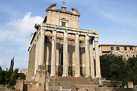 Temple of Antoninus and Faustina, 141 AD, transformed in the Christian era into the church of San Lorenzo In Miranda remaining the façade with the colossal columns in Euboeian marble, Roman Forum, Rome, Italy, Europe.