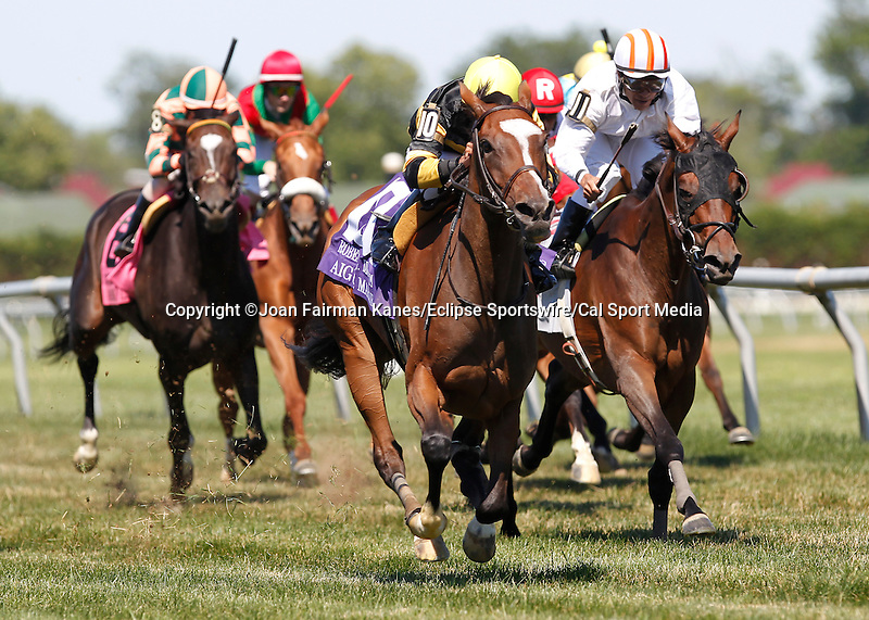 July 5, 2014: #10 Aigue Marine, Kendrick Carmouche up, wins the Grade III Robert G. Dick Memorial Stakes at Delaware Park in Stanton Delaware. She is trained by Christophe Clement and owned by Haras du Mezeray and Skymarc Farm, Inc. ©Joan Fairman Kanes/ESW/CSM