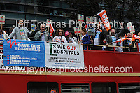 Peoples March for the NHS - Central London, Saturday 6th Sept 2014 - <br /> <br /> The supporters arrive in London. <br /> <br /> <br /> <br /> <br /> Photographer: Jeff Thomas - Jeff Thomas Photography - 07837 386244/07837 216676 - www.jaypics.photoshelter.com - swansea1001@hotmail.co.uk