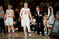 STANFORD, CA--Head Coach Tara Van DerVeer talks to her team during PAC-12 conference play against Utah  at Maples Pavilion. The Cardinal won the matchup against the Utes 69-42.