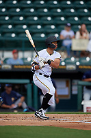 Bradenton Marauders Cal Mitchell (34) at bat during a Florida State League game against the Charlotte Stone Crabs on April 10, 2019 at LECOM Park in Bradenton, Florida.  Bradenton defeated Charlotte 2-1.  (Mike Janes/Four Seam Images)