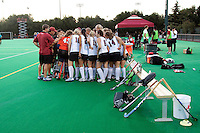 STANFORD CA - September 23, 2011:  Team talk before the Stanford vs Cal at vs Lehigh field hockey game at the Varsity Field Hockey Turf Friday night at Stanford.<br /> <br /> The Cardinal team defeated the Golden Bears 3-2.