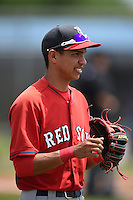 Boston Red Sox minor league shortstop Mauricio Dubon (7) during an extended spring training game against the Tampa Bay Rays on April 16, 2014 at Charlotte Sports Park in Port Charlotte, Florida.  (Mike Janes/Four Seam Images)
