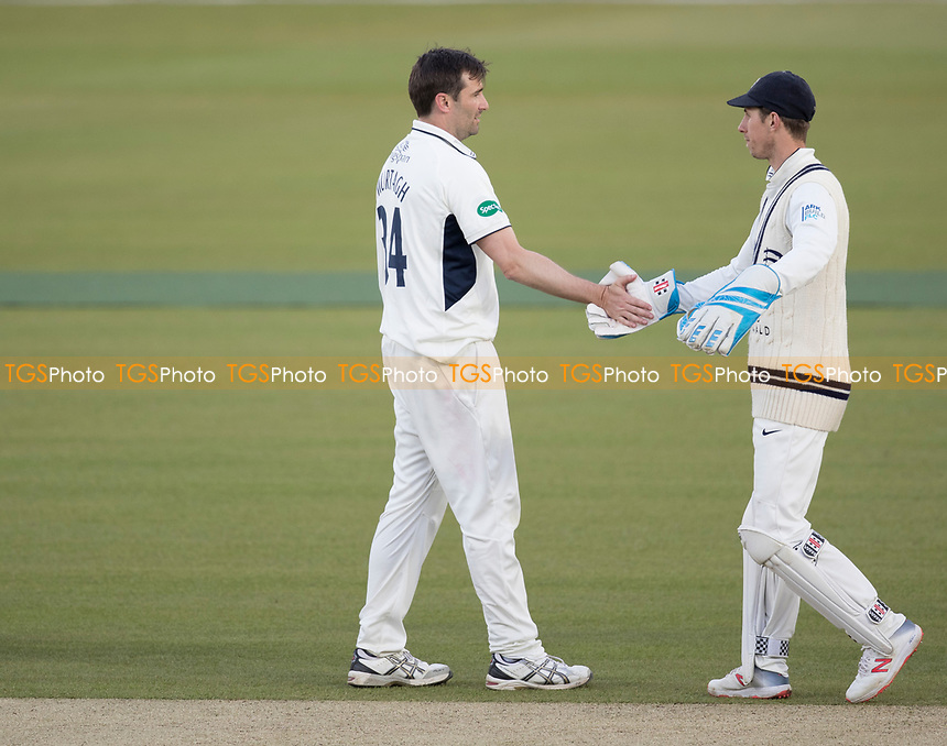 John Simpson of Middlesex CCC congratulates Tim Murtagh of Middlesex CCC during Middlesex CCC vs Lancashire CCC, Specsavers County Championship Division 2 Cricket at Lord's Cricket Ground on 13th April 2019