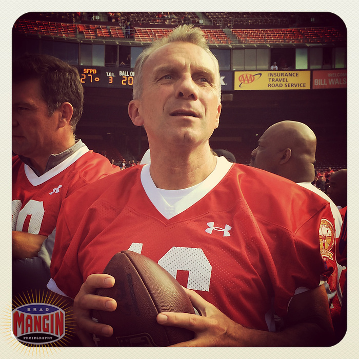 SAN FRANCISCO, CA - JULY 12: Instagram of Joe Montana holding a football before the Legends of Candlestick flag football game at Candlestick Park on July 12, 2014 in San Francisco, California. Photo by Brad Mangin