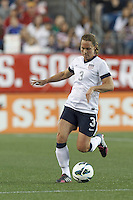 USWNT defender Christie Rampone (3) controls the ball. In an international friendly, the U.S. Women's National Team (USWNT) (white/blue) defeated Korea Republic (South Korea) (red/blue), 4-1, at Gillette Stadium on June 15, 2013.