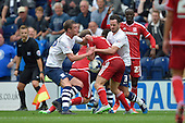 09/08/2015 Sky Bet League Championship Preston North End v Middlesbrough <br /> Paul Huntington and Greg Cunningham collide with Grant Leadbitter and Adam Clayton