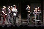 "Jeff Marx, Kerri Brackin, Lucy, Adam Feldman, Princeton, Ben Durocher, Kate Monster and Elizabeth Ann Berg during the 'Avenue Q"" 13th Anniversary and 3,QQQ Performance with Bar Mitzvah at the New World Stages on January 12, 2017 in New York City."