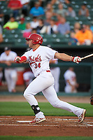 Peoria Chiefs first baseman Alex De Leon (34) at bat during a game against the Wisconsin Timber Rattlers on August 21, 2015 at Dozer Park in Peoria, Illinois.  Wisconsin defeated Peoria 2-1.  (Mike Janes/Four Seam Images)