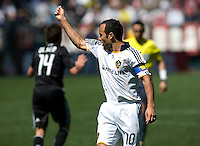 LA Galaxy's Landon Donovan asking ceneter ref Jair Marrufo for a card. The LA Galaxy and DC United play to 2-2 draw at Home Depot Center stadium in Carson, California on Sunday March 22, 2009.