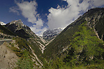 Mountain pass. Hahntennjoch pass, between Imst and Elmen, Tyrol. Austria.