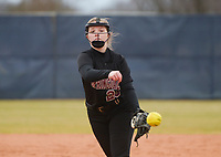 NWA Democrat-Gazette/CHARLIE KAIJO Springdale High School Maycee Trolinger (25) throws a pitch during a softball game, Thursday, March 13, 2019 at Bentonville West High School in Centerton.