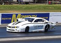Jun. 1, 2013; Englishtown, NJ, USA: NHRA pro stock driver Shane Gray during qualifying for the Summer Nationals at Raceway Park. Mandatory Credit: Mark J. Rebilas-