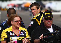 Aug. 18, 2013; Brainerd, MN, USA: NHRA top fuel dragster driver Morgan Lucas throws a photo bomb during the Lucas Oil Nationals at Brainerd International Raceway. Mandatory Credit: Mark J. Rebilas-