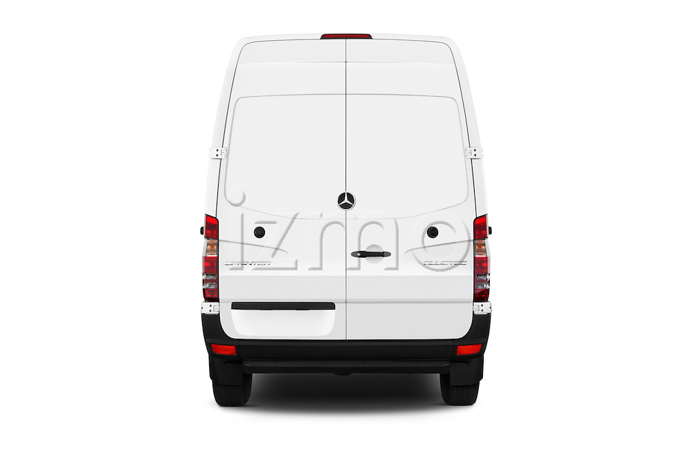 Straight rear view of 2016 Mercedes Benz Sprinter 2500-144-WB-High-Roof 4 Door Cargo Van Rear View  stock images