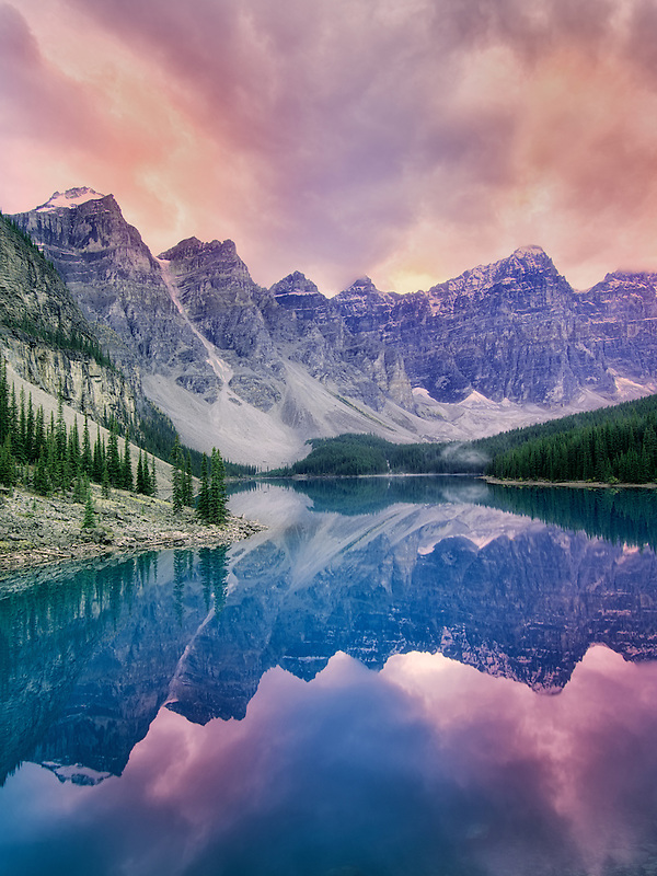 Moraine Lake with sunset clouds. Banff National Park, Canada