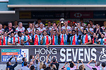 The France Rugby Squad celebrate with their trophy during the HSBC Hong Kong Sevens 2018 Bowl Final match between Canada and France on 08 April 2018, in Hong Kong, Hong Kong. Photo by Marcio Rodrigo Machado / Power Sport Images