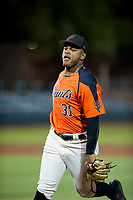 AZL Giants Heliot Ramos (31) jogs off the field between innings of the game against the AZL Brewers on August 15, 2017 at Scottsdale Stadium in Scottsdale, Arizona. AZL Giants defeated the AZL Brewers 4-3. (Zachary Lucy/Four Seam Images)