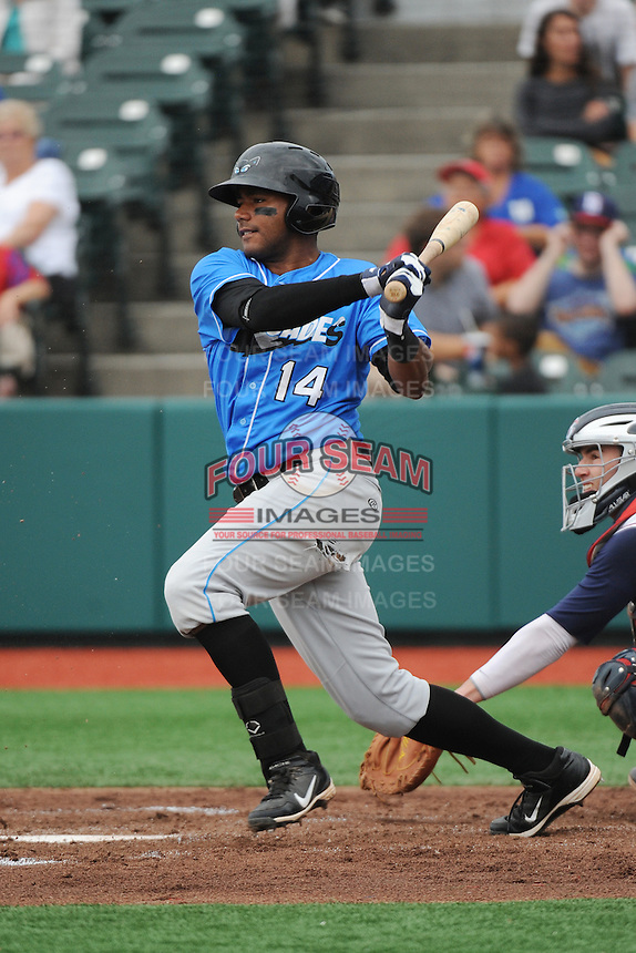 Hudson Valley Renegades infielder Darryl George (14) during game against the Brooklyn Cyclones at MCU Park on July 28, 2013 in Brooklyn, NY.  Brooklyn defeated Hudson Valley 4-2.  Tomasso DeRosa/Four Seam Images