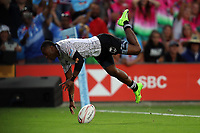 Action from the cup final between Fiji and South Africa on day two of the 2018 HSBC World Sevens Series Hamilton at FMG Stadium in Hamilton, New Zealand on Sunday, 4 February 2018. Photo: Shane Wenzlick / lintottphoto.co.nz