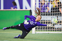 Orlando, Florida - Saturday, April 23, 2016: Orlando Pride goalkeeper Aubrey Bledsoe (19) warms up to the start of an NWSL match between Orlando Pride and Houston Dash at the Orlando Citrus Bowl.