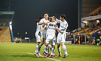 Celebrations as Scott Kashket of Wycombe Wanderers equalises during the The Checkatrade Trophy  Quarter Final match between Mansfield Town and Wycombe Wanderers at the One Call Stadium, Mansfield, England on 24 January 2017. Photo by Andy Rowland.