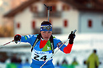 Tatiana Semenova (RUS) competes during the women 7.5 km sprint Biathlon race as part of the Winter Universiade Trentino 2013 on 15/12/2013 in Lago Di Tesero, Italy.<br /> <br /> &copy; Pierre Teyssot - www.pierreteyssot.com