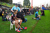 Jed Knox brings a jacket to Samuel Slade after he was given 10 minutes in the bin for collapsing a maul. Mitre 10 Cup rugby game between Counties Manukau Steelers and Taranaki Bulls, played at Navigation Homes Stadium, Pukekohe on Saturday August 10th 2019. Taranaki won the game 34 - 29 after leading 29 - 19 at halftime.<br /> Photo by Richard Spranger.
