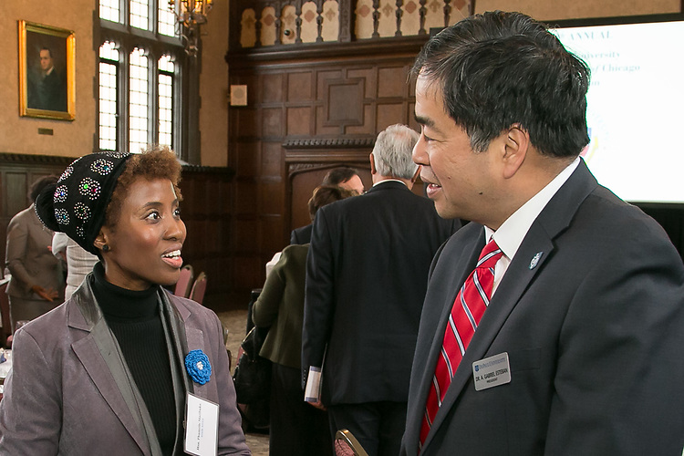 Phumzile Mazibuko, left, chief of staff at the department of international relations and cooperation for South Africa, with A. Gabriel Esteban, Ph.D., president of DePaul University, as guests gather in Cortelyou Commons for the 13th Annual Consular Corps Luncheon, Tuesday, April 3, 2018, on DePaul's Lincoln Park Campus. The event brings together members of the international consulate community with university staff and faculty in an effort to promote partnerships and educational programs. (DePaul University/Jamie Moncrief)