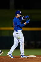 AZL Cubs 1 Carlos Pacheco (29) motions towards his team's bench after hitting a double during an Arizona League game against the AZL Padres 1 on July 5, 2019 at Sloan Park in Mesa, Arizona. The AZL Cubs 1 defeated the AZL Padres 1 9-3. (Zachary Lucy/Four Seam Images)