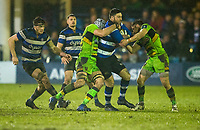 Bath Rugby's Matt Banahan in action during todays match<br /> <br /> Photographer Bob Bradford/CameraSport<br /> <br /> Anglo-Welsh Cup Semi Final - Bath Rugby v  Northampton Saints - Friday 9th March 2018 - The Recreation Ground - Bath<br /> <br /> World Copyright &copy; 2018 CameraSport. All rights reserved. 43 Linden Ave. Countesthorpe. Leicester. England. LE8 5PG - Tel: +44 (0) 116 277 4147 - admin@camerasport.com - www.camerasport.com